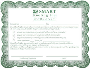 What you need to know about roof warranties smart roofing inc for Workmanship guarantee template