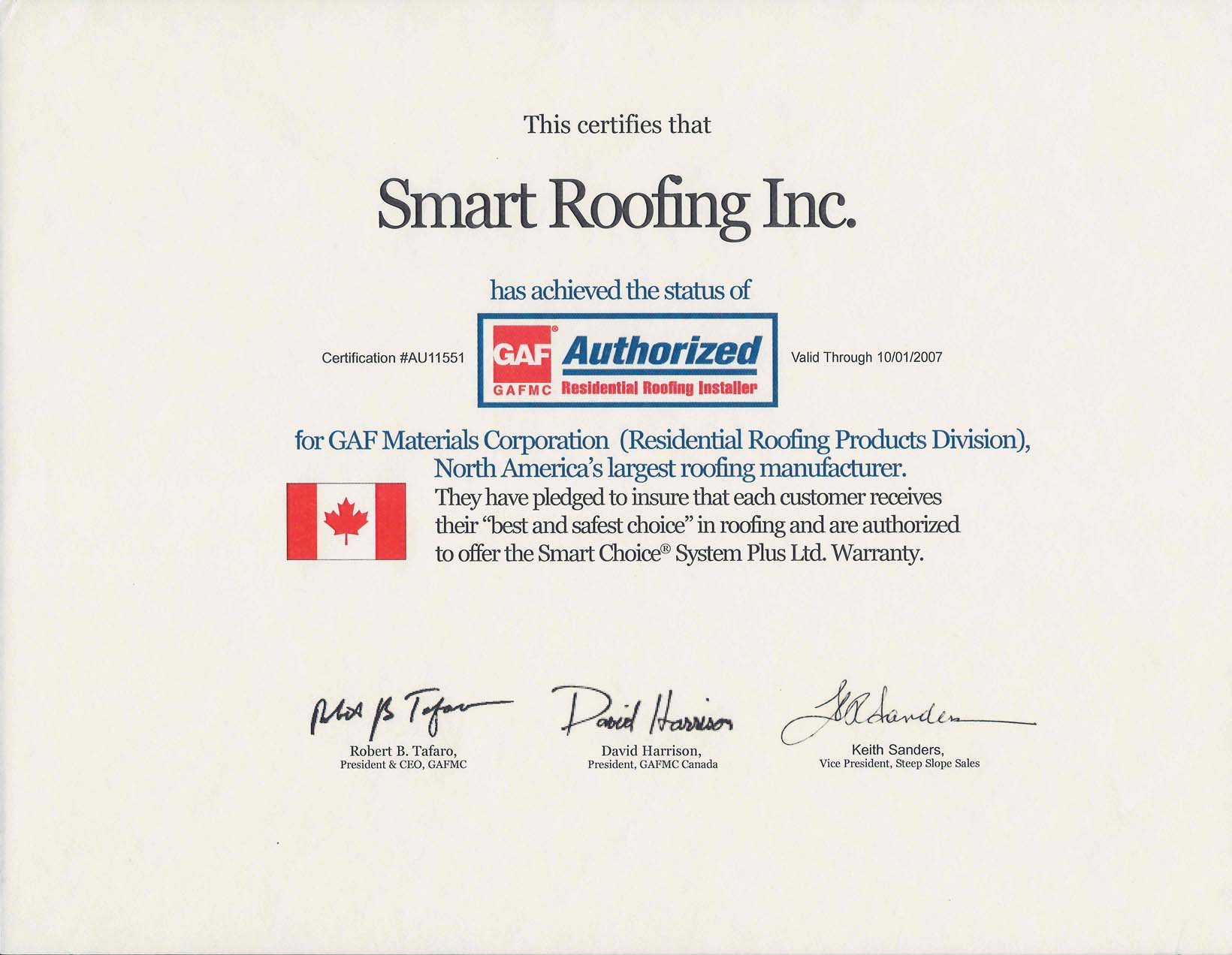 Roof Certifications Certified Shinglemaster Roofers Missisauga